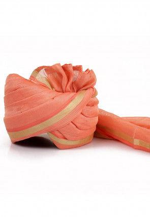 Woven Chanderi Silk Turban in Peach