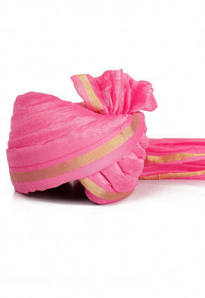 Woven Chanderi Silk Turban in Pink