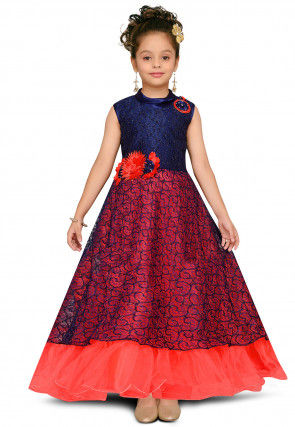 Woven Chantelle Net A Line Gown in Navy Blue and Red