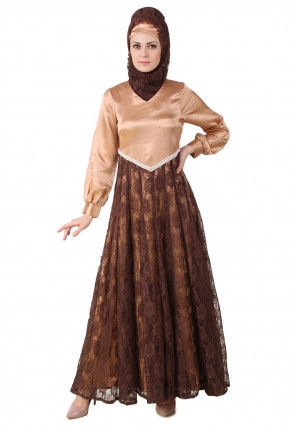 Woven Chantelle Net Abaya in Dark Brown and Light Peach