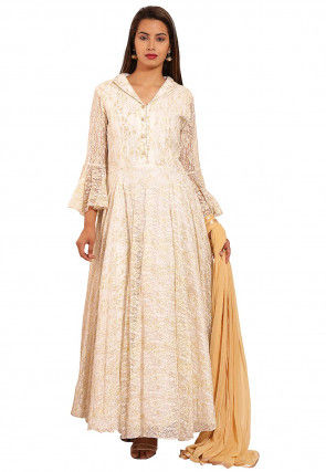 Woven Chantelle Net Abaya Style Suit in Off White