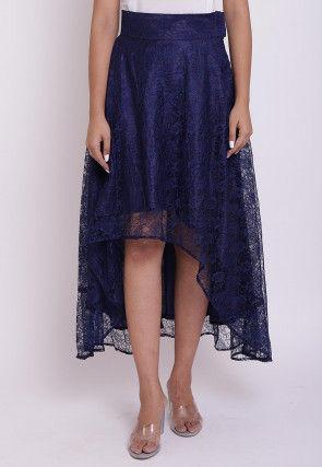 woven Chantelle Net Asymmetric Skirt in Navy Blue
