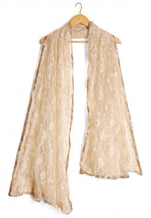Woven Chantelle Net Dupatta in Light Beige