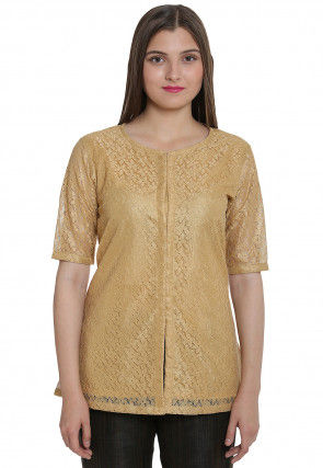 Woven Chantelle Net Front Open Top in Golden