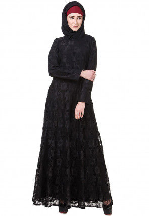 Woven Chantelle Net Abaya in Black