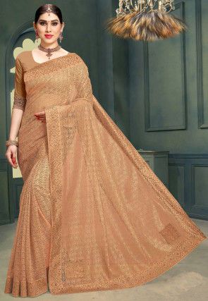 Woven Chantelle Net Saree in Beige