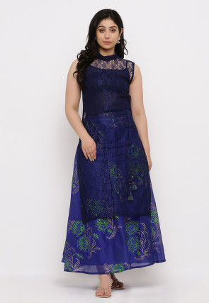 Woven Chantelle Net Straight Kurta in Navy Blue