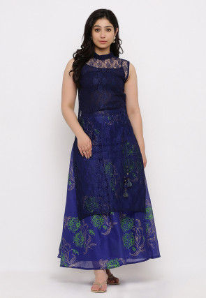 Woven Chantelle Net Straight Kurta Set in Navy Blue