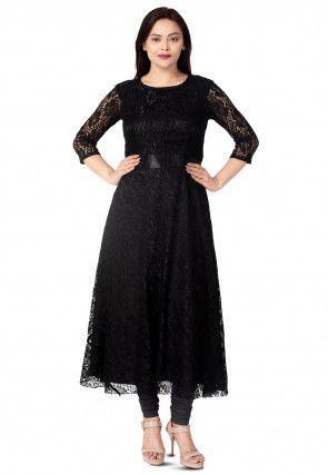 Woven Chentalle Net Flared Kurta in Black