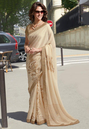 Woven Chiffon Brasso Saree in Light Beige