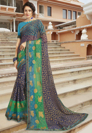 Woven Chiffon Brasso Saree in Navy Blue