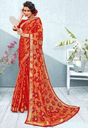 Woven Chiffon Brasso Shimmer Saree in Red