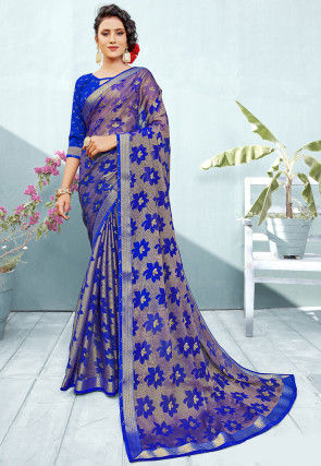 Woven Chiffon Brasso Shimmer Saree in Royal Blue