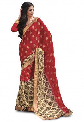 Woven Chiffon Jacquard Saree in Red