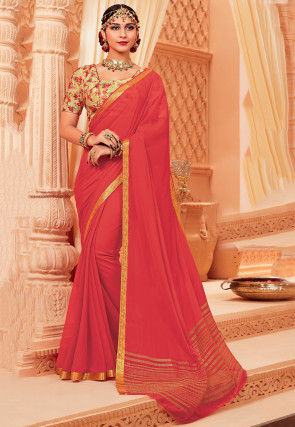Woven Chiffon Saree in Coral Red