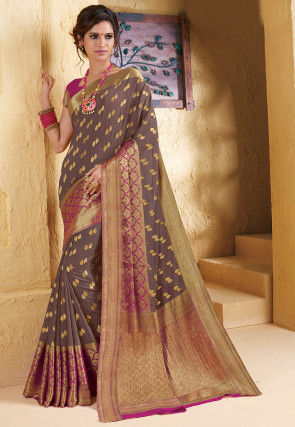 Woven Chiffon Saree in Dusty Purple