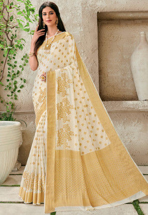 Woven Chiffon Saree in Off White