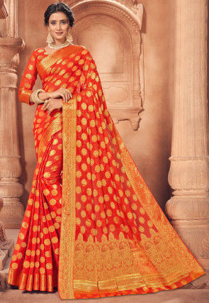 Woven Chiffon Saree in Orange