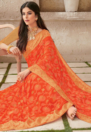 Woven Chiffon Saree in Orange