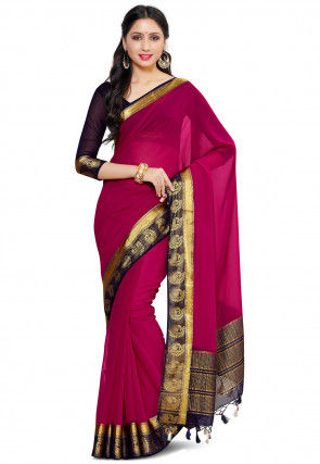 Woven Chiffon Saree in Pink