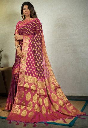 Woven Chiffon Saree in Purple