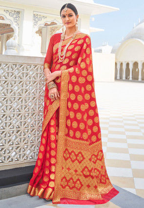 Woven Chiffon Saree in Red