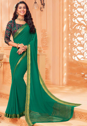 Woven Chiffon Saree in Teal Green