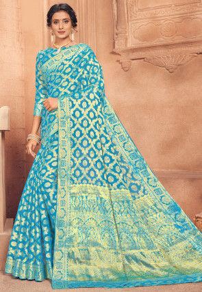 Woven Chiffon Saree in Turquoise