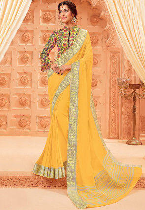 Woven Chiffon Saree in Yellow