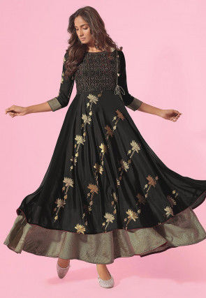 Woven Chinon Chiffon Jacquard Gown in Black and Beige
