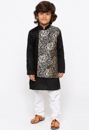 Woven Cotton and Art Silk Kurta Set in Black