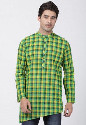 Woven Cotton Asymmetric Short Kurta in Green and Yellow