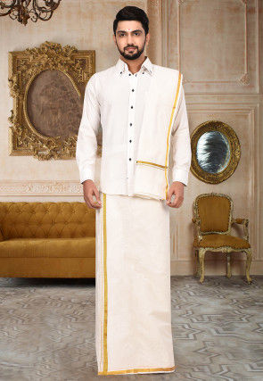 Woven Cotton Dhoti Angavastram Set in Off White
