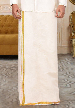 Woven Cotton Dhoti in Off White