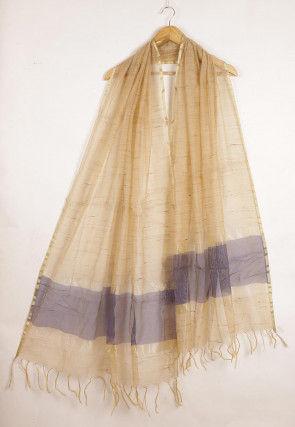 Woven Cotton Dupatta in Beige