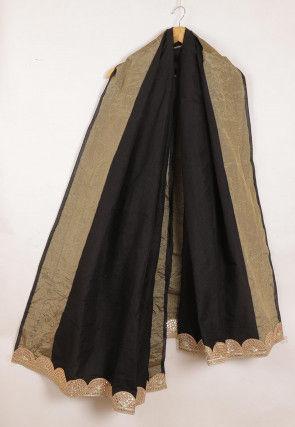 Woven Cotton Dupatta in Black