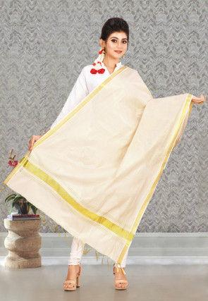 Woven Cotton Dupatta in Light Golden