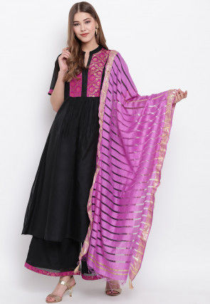 Woven Cotton Dupatta in Pink