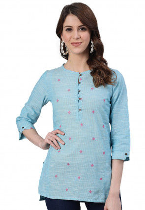 Woven Cotton High Low Top in Light Blue