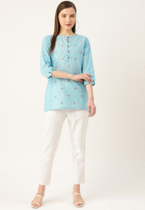 Woven Cotton High Low Top Set in Light Blue