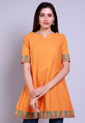 Woven Cotton Jacquard A Line Kurti in Orange