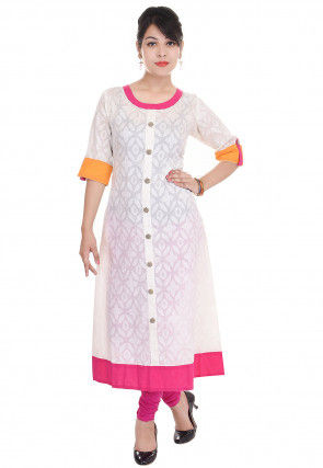 Woven Cotton Jacquard Anarkali Kurta in White