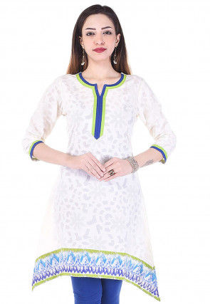 Woven Cotton Jacquard Asymmetric Kurti in White