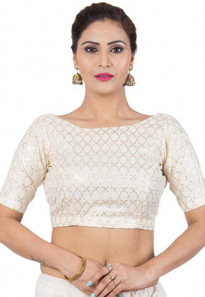 Woven Cotton Jacquard Blouse in Off White
