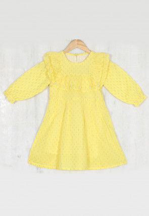 Woven Cotton Jacquard Kids Frock in Yellow