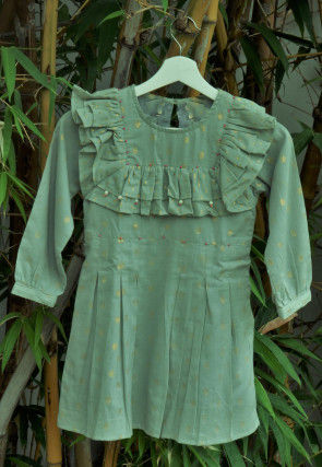 Woven Cotton Jacquard Kids Frock in Teal Green