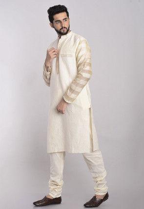 Woven Cotton Jacquard Kurta Set in Cream