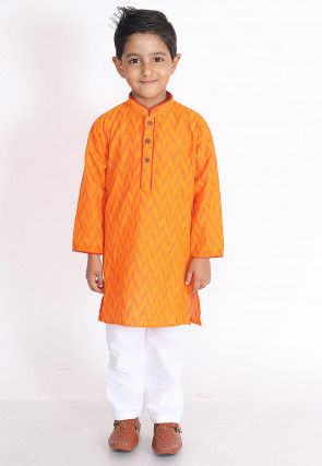 Woven Cotton Jacquard Kurta Set in Orange
