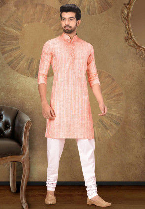 Woven Cotton Jacquard Kurta Set in Peach