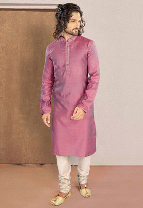 Woven Cotton Jacquard Kurta Set in Pink
